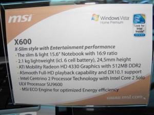 msi-x600-specs