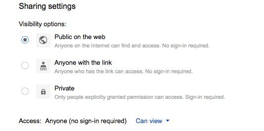 Google Drive Share Settings
