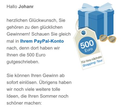 PayPal 500 Euro