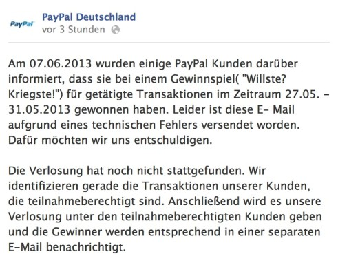 PayPal Fehler