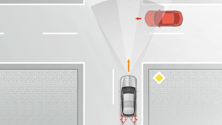 Autonome Bremsung auch bei Querverkehr, Aktiver Brems-Assistent mit Kreuzungsfunktion (269)