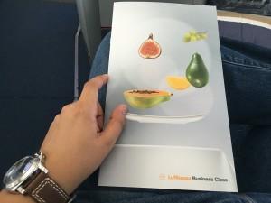 Lufthansa Business Class Flug - Speisekarte1