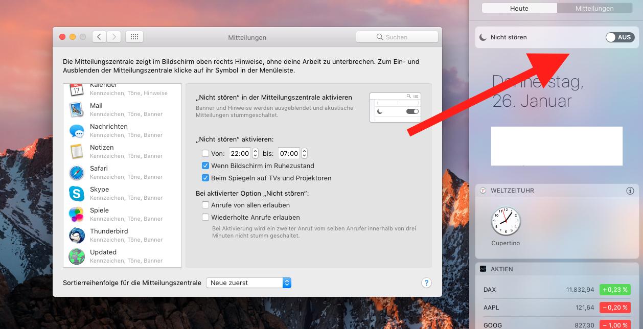 MacOS Sierra Nicht Stören Modus