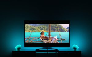 """Extract from Disney Moana """"How far I'll go"""" by Auli'i Cravalho, in a tech showcase with new Philips Hue entertainment, synchronizing Philips Hue lights with entertainment content. Image (c) Disney Music"""