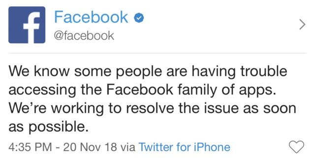 Facebook Down 2018