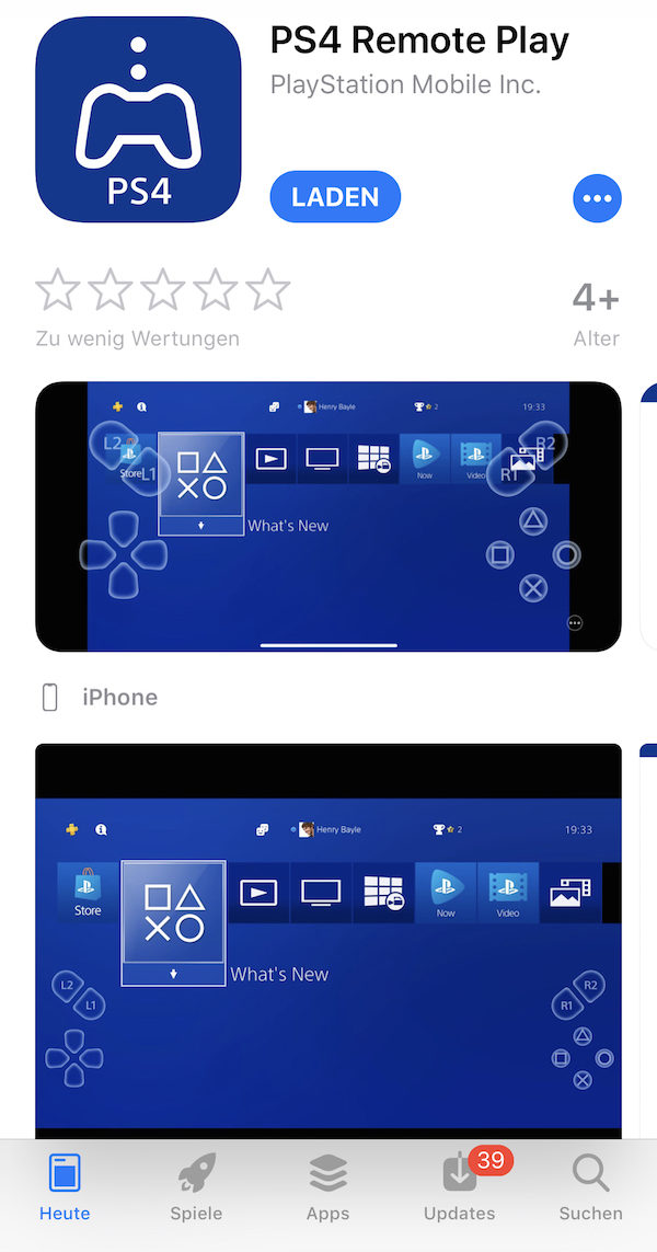 PS4 Remote Play iOS AppStore
